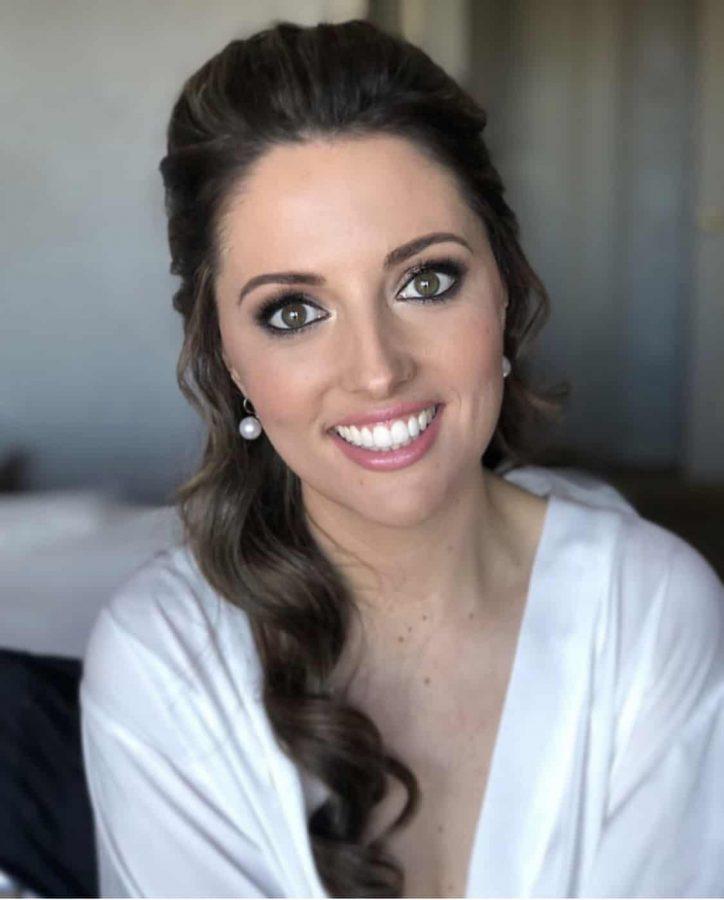 bride with bronze smokey eyes wedding hair and makeup sydney